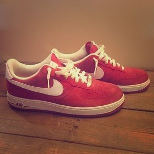 Red/White Suede Nike Air Force Ones